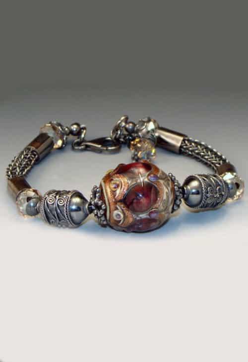 Black Cherry Lampwork Bracelet