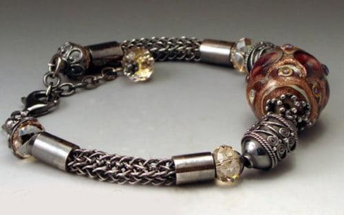 Black Cherry Lampwork Bracelet Side View