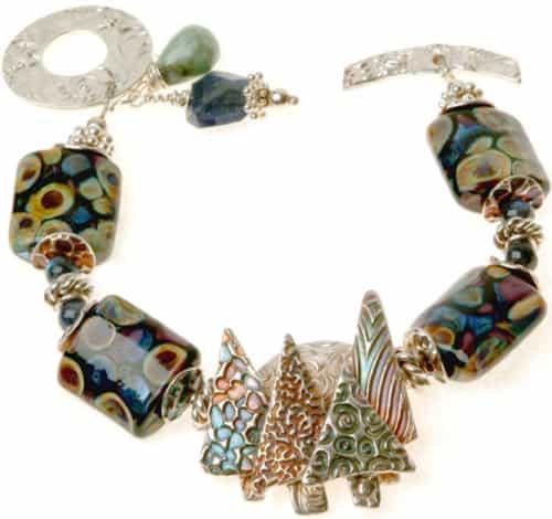 Enchanted Forest Lampwork Bracelet Close Up