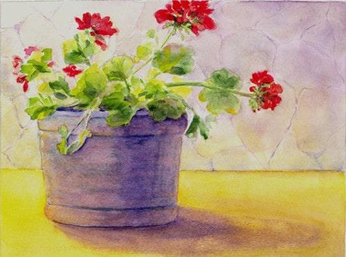 Geraniums In The Sun Watercolor Hi Res
