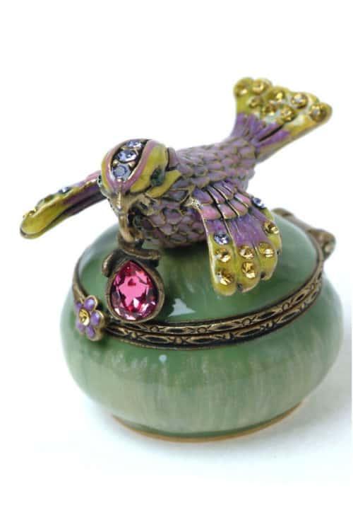 Jay Strongwater Bird With Gem On Round Mini Box