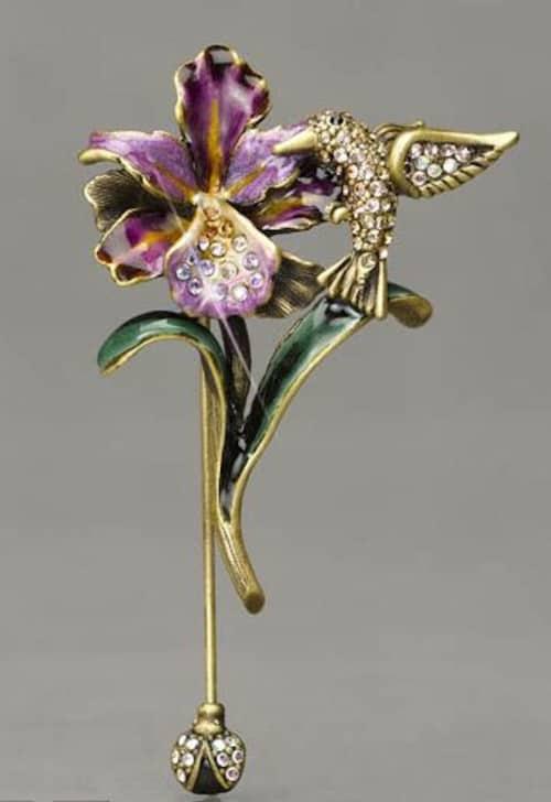 Jay Strongwater Iris and Hummingbird Stickpin