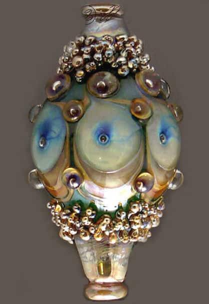 Neptune's Treasure Lampwork Drop Pendant Bead