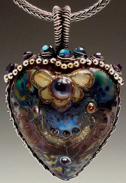 Peacock Lampwork Heart Necklace