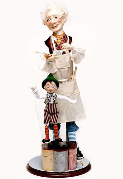 Pinnochio and Gepetto Friedericy Art Dolls Music Box