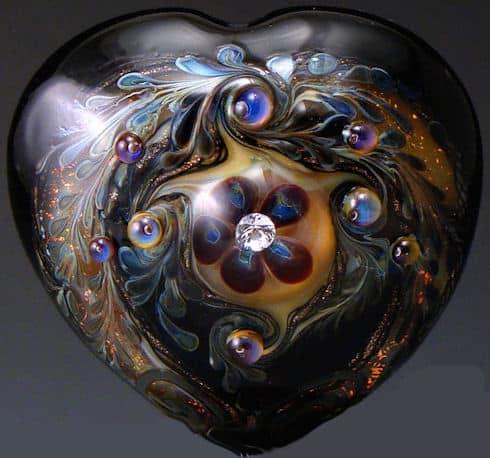 Plutonic Love Hear Lampwork Bead