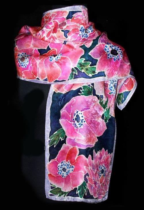Poppy Floral Jacquard Silk Scarf