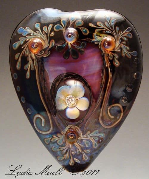 Romantic Obcession Lampwork Heart Bead