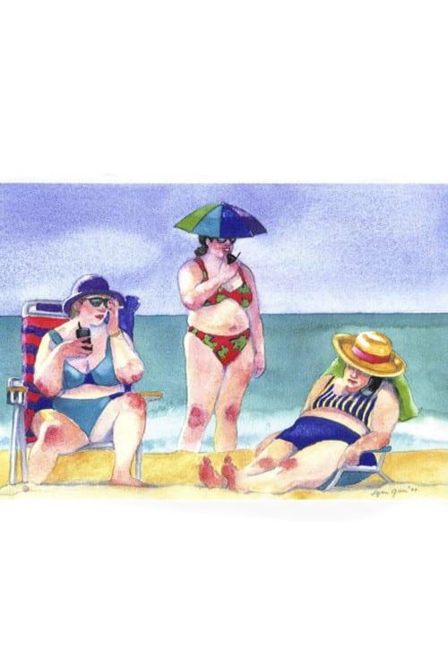 See No, Hear No, Speak No Beach Ladies Watercolor Print by Lynn Greer