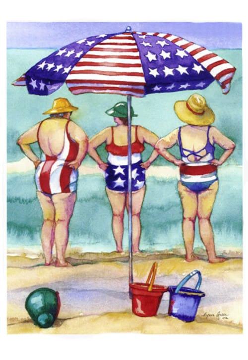 Stars and Stripes Beach Ladies Print by Lynn Greer
