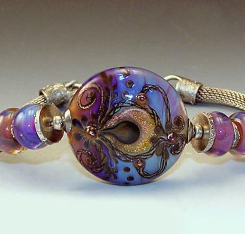 Twilight Oasis Lampwork Bracelet Close Up